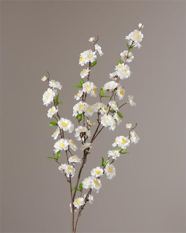 White Cherry Blossom Faux Botanical Branch