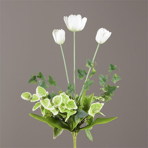 White Tulips and Green Foliage Floral Bunch Spray