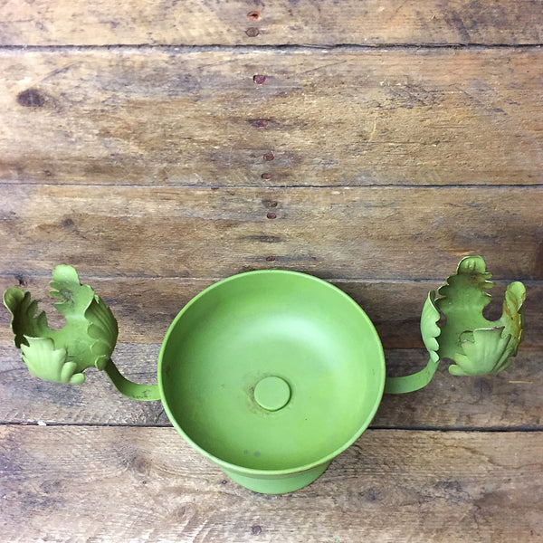 Vintage Floral Container - Green Bowl and Double Taper Holder