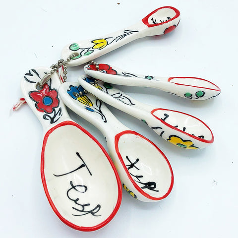 Orange and Yellow Flowers Ceramic Measuring Spoons