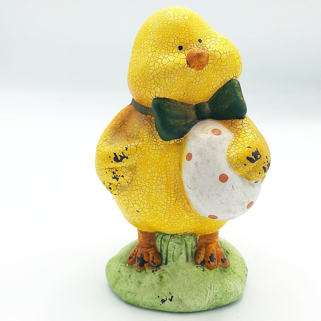 Distressed Yellow Chick with Egg Figure