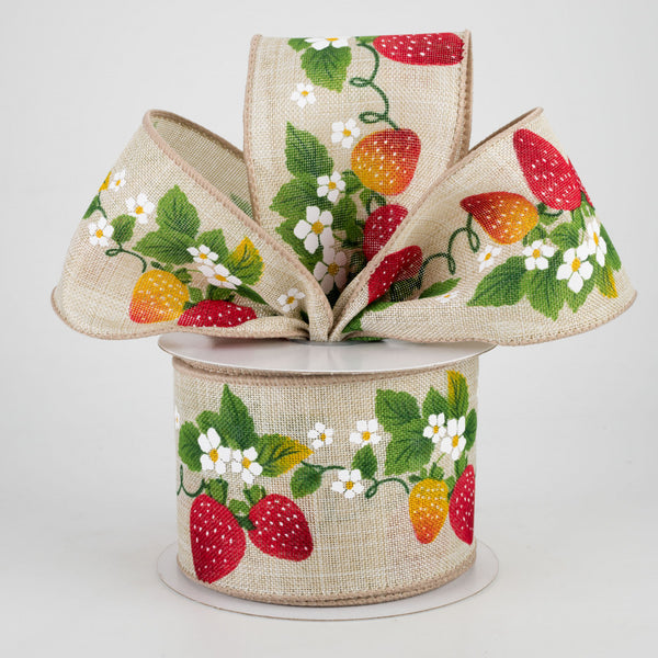 "Strawberry Blossoms Natural Ribbon 2.5"" x 10 yards"