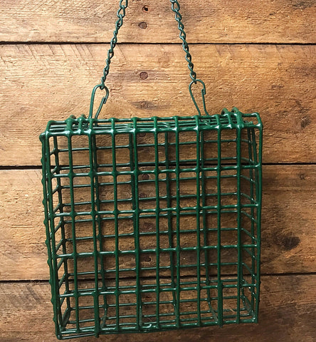 Green Wire Hanging Suet Bird Feeder