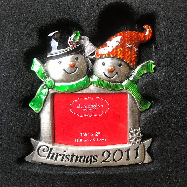 Set of 3 St Nicholas Square 2011 Photo Holder Ornaments - Snowmen