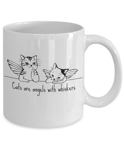 Cat Coffee Mug - Cats Are Angels with Whiskers - 11 oz Gift Mug