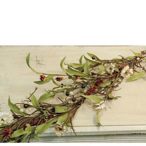 Teastain Berries and White Flower Garland 4 feet