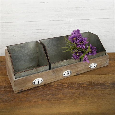 Industrial Style Three Metal Bin Desk Organizer with Wooden Holder