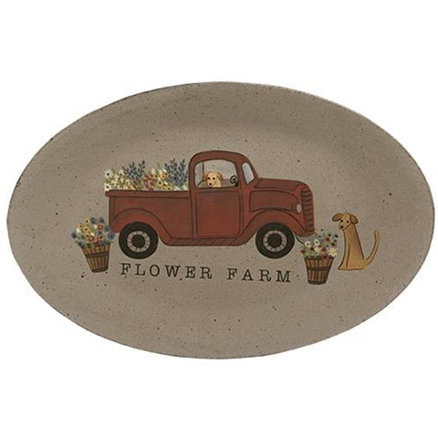 Flower Farm Red Truck and Dogs Wooden Oval Plate