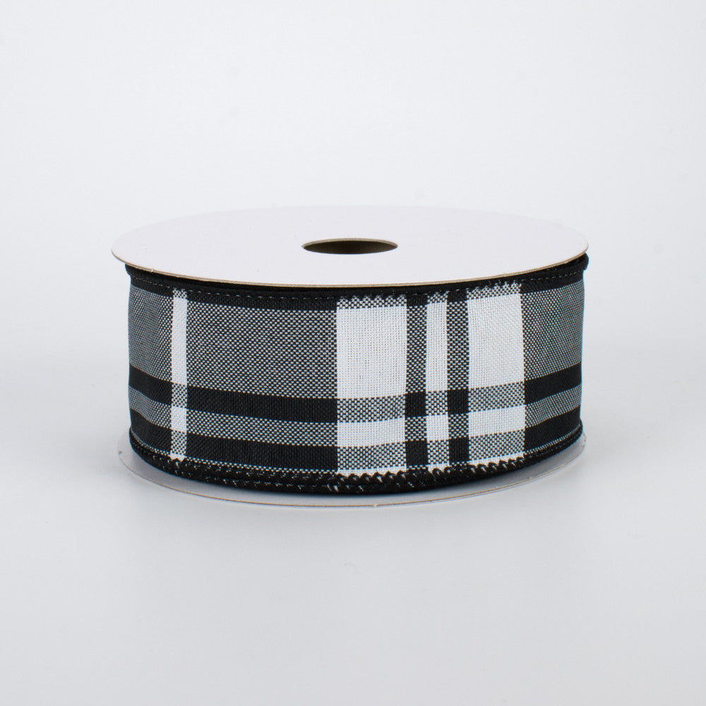 "Black & White Plaid Wire-Edged Ribbon 1.5"" W x 10 yards"