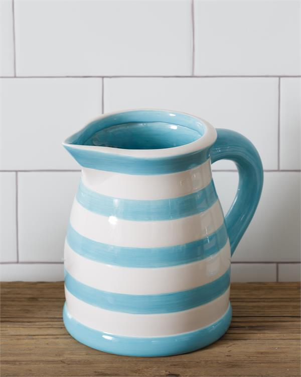Blue and White Stripe Dolomite Pitcher