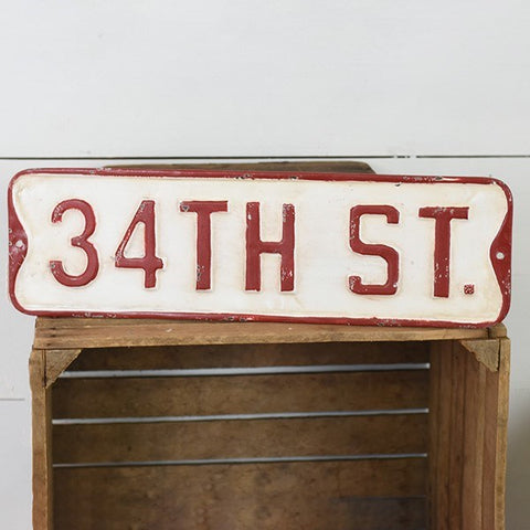 "34TH ST Distressed Christmas Metal 18"" Street Sign"