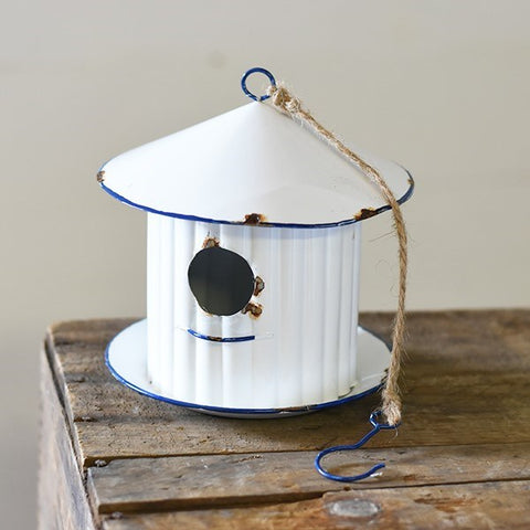 Avalon Round Tin White Hanging Birdhouse