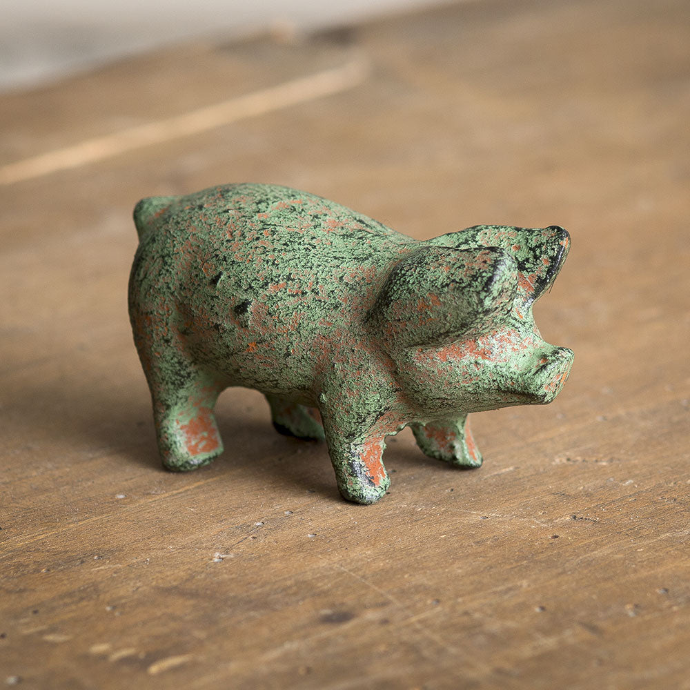 Cast Iron Piglet Green Distressed Little Pig