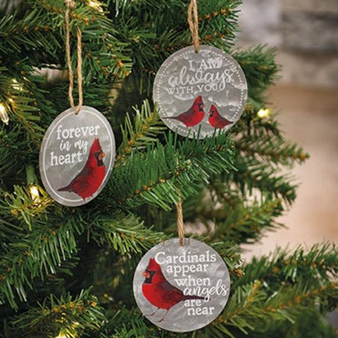 Set of 3 Always With You Cardinal Ornaments