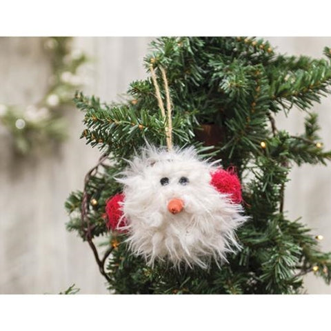 Fuzzy Snowman with Earmuffs Ornament