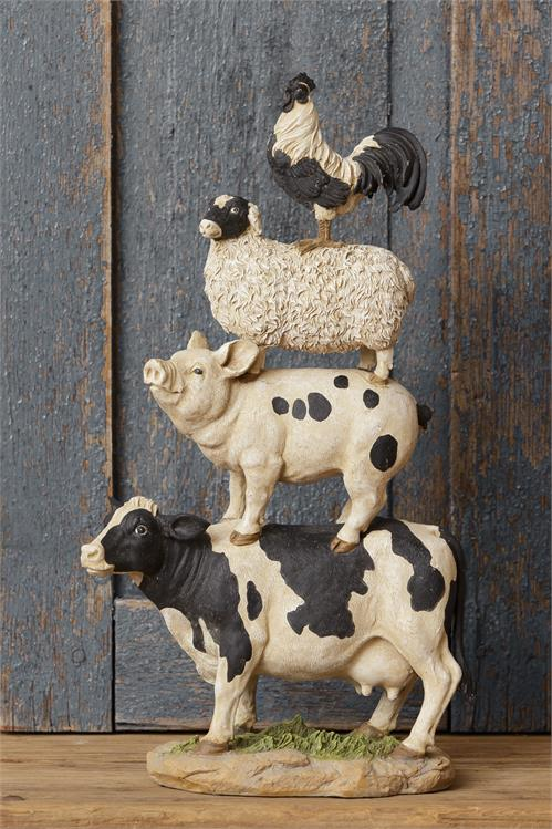 Black and White Farm Animal Stack Figure