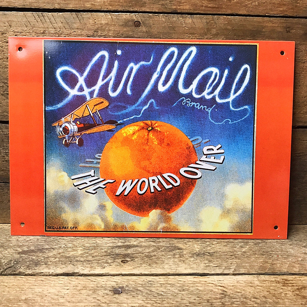 Air Mail Brand Orange - Nostalgic Tin Sign
