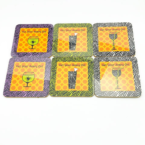 Set of 6 Get Your Scary On! Halloween Coasters