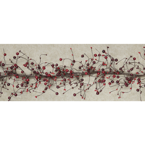 Burgundy and Red Rustic Pip Berries 5 ft Faux Garland