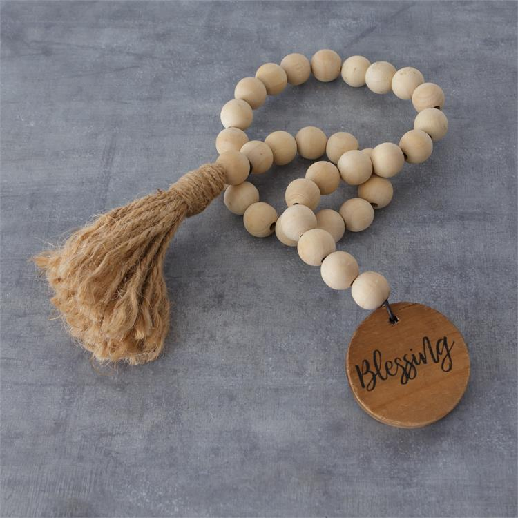 Farmhouse Wooden Beads with Tassel and Blessing Disc