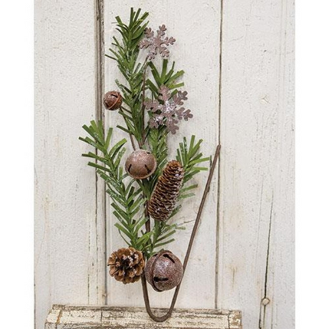 Rusty Glitter Bell & Snowflake Pine 24 in Faux Spray