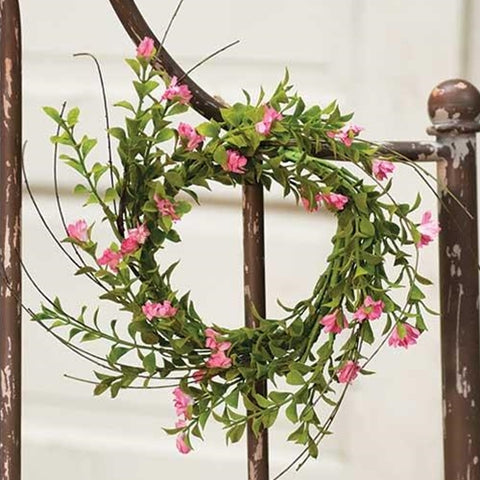 "Sweet Pink Blossoms & Greens Small 10"" Wreath"