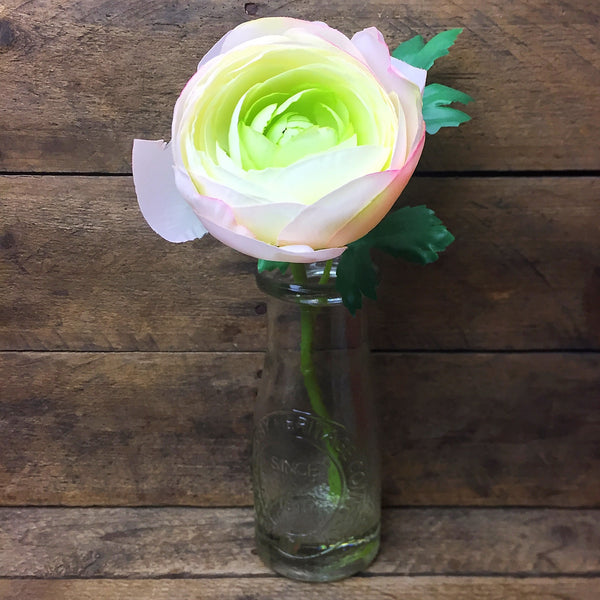 Clear Glass Milk Jug with Ranunculus Silk Flower