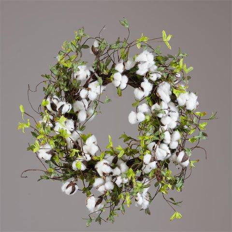 "Natural Cotton and Green Leaves 20"" Twig Wreath"