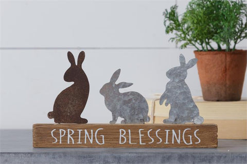 Spring Blessings Bunny Silhouette Table Decor