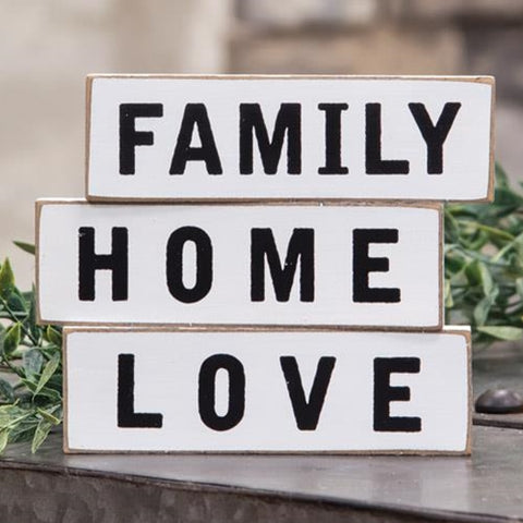 Family Home Love Thin Wooden Mini Blocks