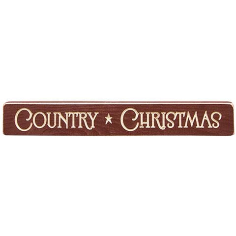 "Country Christmas 12"" Wooden Engraved Block"