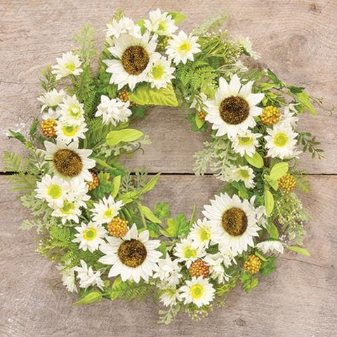 "Sunflower & Berries 20"" Faux Floral Wreath"