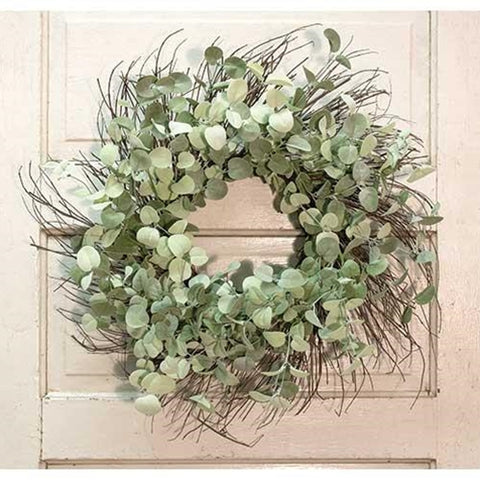 "Silver Drop Eucalyptus 24"" Twig Wreath"