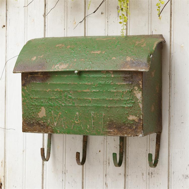 Rustic Green Mailbox With Hooks
