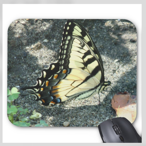 Butterfly Mouse pad - Yellow Monarch - Super Grip Mousepad