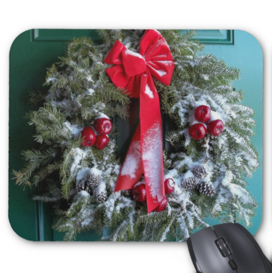 Christmas Mousepad - Snowy Wreath - Mouse Pad