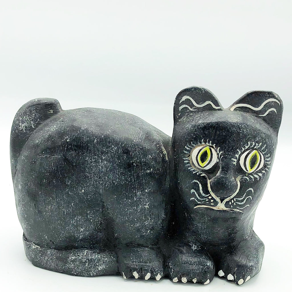 Black & White Art Deco Wooden Cat Figure