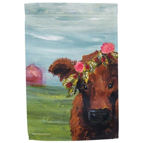 Cow with Floral Crown Garden Flag
