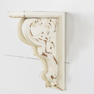 "Distressed White Scroll Corbel 10"" Shelf"