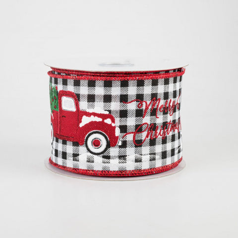 "Merry Christmas Truck Buffalo Plaid Ribbon 2.5"" x 10 yards"