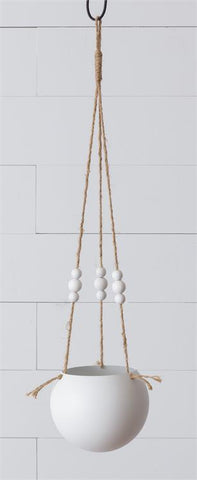 White Boho Round Hanging Planter with Beads