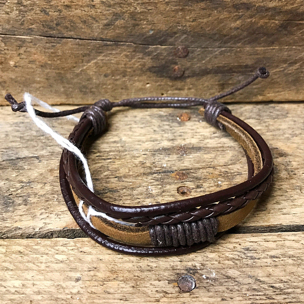 Tan and Brown Multi Layered Adjustable Leather Bracelet