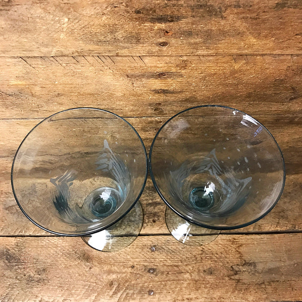 Set of Two Etched Snow Tree Goblet Glasses