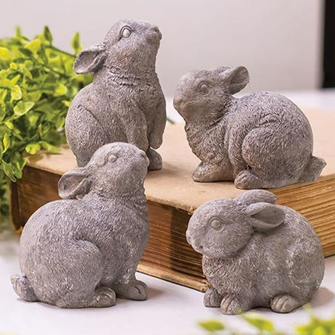 Set of 4 Gray Spring Bunnies