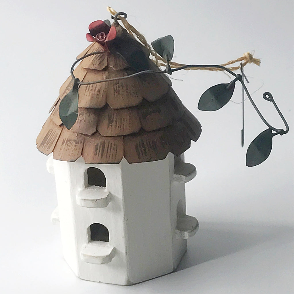 White with Brown Roof Martin Wooden Birdhouse Ornament