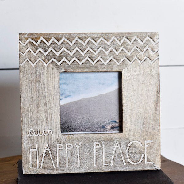 Our Happy Place Square Wooden Picture Frame