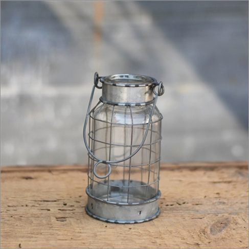Rustic Tin and Wire Vase/Candle Holder