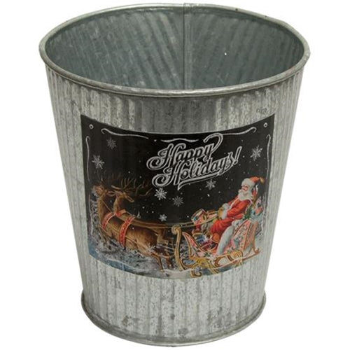 "Happy Holidays Santa 5.5"" Galvanized Bucket"