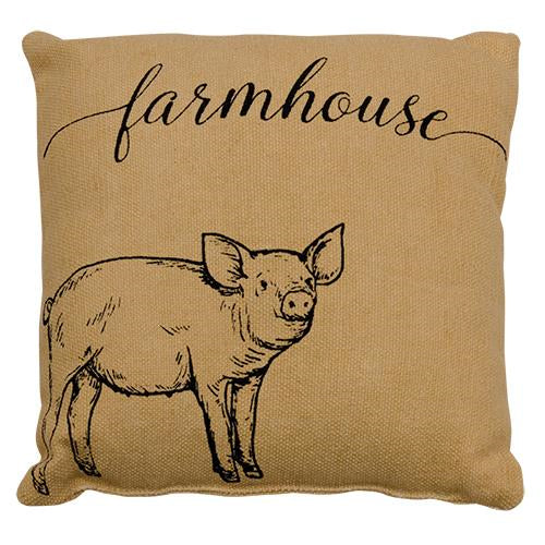 "Farmhouse Pig Square 10"" Pillow"
