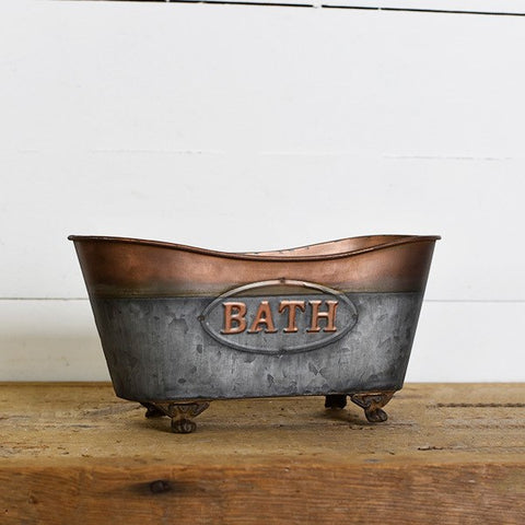 Copper Topped Bath Tin Tub Caddy